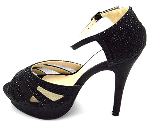 Zapatos Black Stiletto perlas la Glitter Bomba Clasic boda Sandalia 1 Negro De nupcial vestido Heal Mujer R6wqUE7