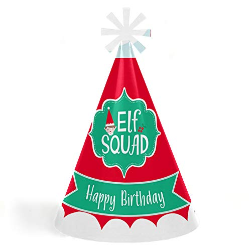Elf Squad - Cone Happy Birthday Party Hats for Kids and Adults - Set of 8 (Standard Size) -