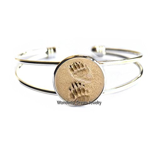 Bear Paw Prints Bangle Paw Print Jewelry Paw and Footprint Bracelet Gift for Animal Lover Gift Animal Jewelry,PU314 (Silver)