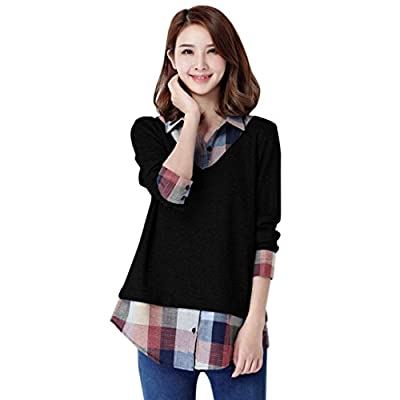 Blouses for Womens, FORUU Long Sleeve Patchwork Plaid Turn-Down Collar T Shirts