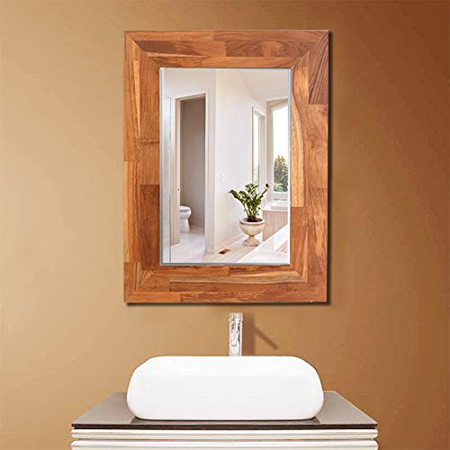 Facilehome Wall Mounted Beveled Mirror with Teak Wood Frame Mirrored Rectangle Hangs Horizontal or Vertical (31.5