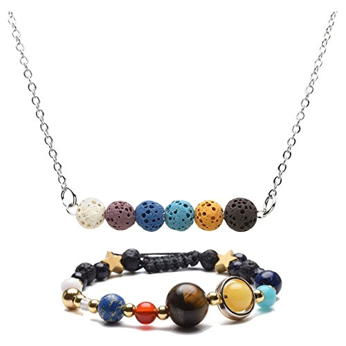 Top Plaza Chakra Healing Lava Rock Stones Aromatherapy Essential Oil Diffuser Necklace Bracelet Jewelry Set #3 (Rock System)