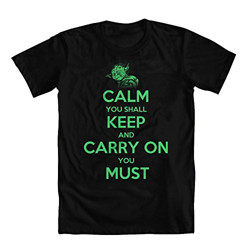 GEEK TEEZ Calm You Shall Keep, Carry on You Must Men's T-Shirt Black X-Large