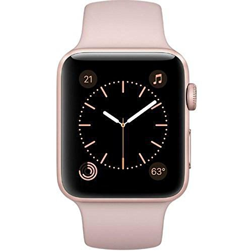 Apple Watch Series 1 42mm Smartwatch MQ112LL/A Rose Gold Aluminum Case, Pink Sand Sport Band (Refurbished)