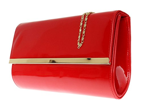 Womens Shoulder Fashion Evening Girly Patent Events Bag Handbag Clutch Red Handbags Glossy New YPw0xP