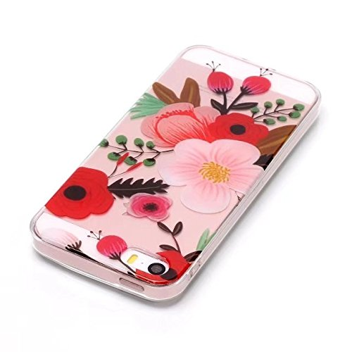 para Apple iPhone 5/iPhone 5S Carcasa, Transparente Resistente a los Arañazos Flexible Bumper Case Cover [Ultra-delgado] [Shock-Absorción] Protectora Contraportada Caja del Teléfono para Apple iPhone  Flor
