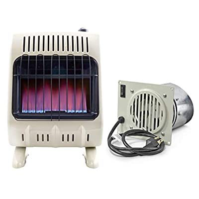 Mr. Heater 20K Vent-Free Blue Flame Natural Gas Heater (20,000 BTU/Hr.) and Blower Fan Kit for Even Heat Distribution
