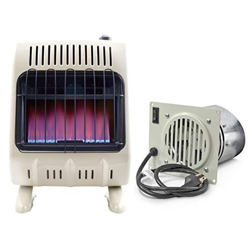 Free Blue Flame Natural Gas Heater (20,000 BTU/Hr.) and Blower Fan Kit for Even Heat Distribution (Electronic Ignition Natural Gas Heater)