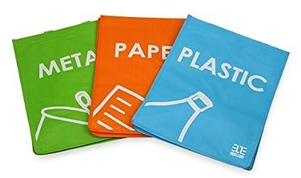 Cubo de basura de reciclaje juego de 3 bolsas de reciclaje con asas de transporte SR1017 (OneTone): Amazon.es: Hogar
