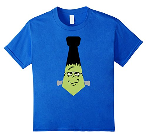 Kids Funny Cute Halloween Scary Frankenstein Bolt Neck Tie Shirt 8 Royal (Monster Bolts Headband)