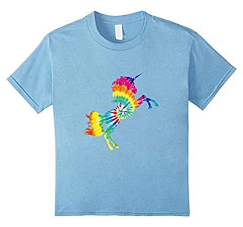 Kids Tie Dye Rainbow Unicorn T Shirt 6 Baby Blue - Boys Blue Tie Dye