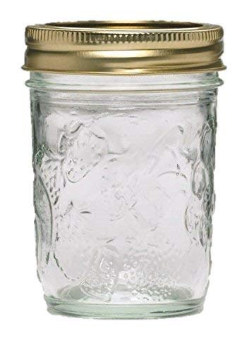 Ball 40801 Golden Harvest Mason Regular Mouth 8oz Jelly Jar 'Vintage Fruit Design', RM 8 Oz, Clear Pack of 24