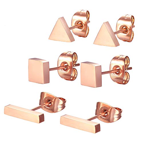 SPINEX 3 Pairs Stainless Steel Rose Gold Stud Earring Set Pierced (Rectangle, Square, Triangle)]()