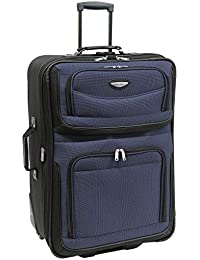 Amsterdam Expandable Rolling Upright Luggage, Navy, Checked-Large 29-Inch