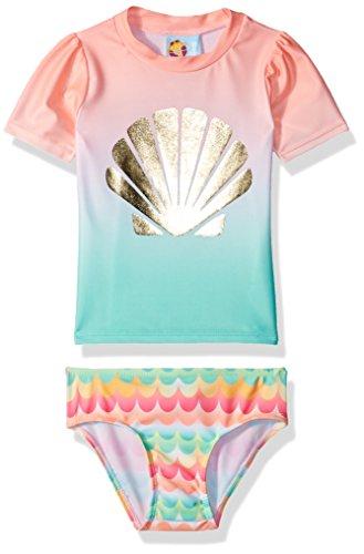 Baby Buns Baby Girls Two Piece Shelly Rashguard Swimsuit Set, Multi, 12M