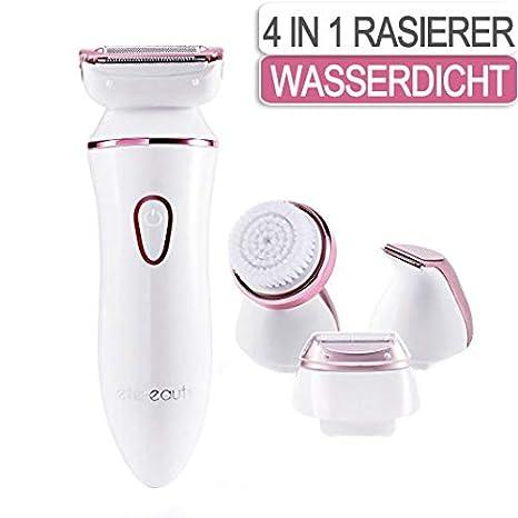 Damenrasierer, 4 in 1 Elektrorasierer Damen Kabelloser Elektrischer Rasierer Nass und Trocken für Beine, Unterarme und Bikini