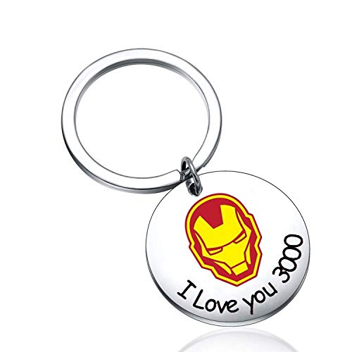 MAOFAED I Love You 3000 I Love You Tons Iron Man Gift Comic Movie Inspired Gift Avengers Endgame Avengers Fan Gift Tony Stark Gift Couple Keychain Gift for Father (I Love You 3000 Keychain)
