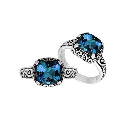 - Sterling Silver Cushion Shape Ring with London Blue Quartz AR-6182-LBT-9
