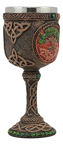 Ebros Celtic Knotwork Cosmic Sacred Tree of Life Wine Goblet 5oz Vial Of Fertility And Immortality Wine Chalice Figurine by Ebros Gift (Image #2)