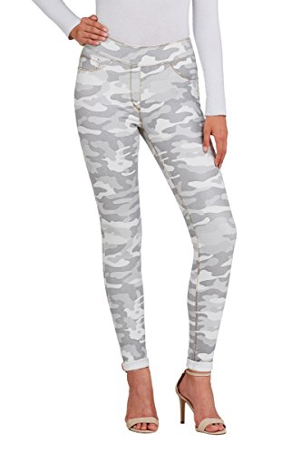 LUXE DENIM SLIMS Metallic Camo Skinny Cuff Jeans WHTCamo XS (Slim Jeans Metallic)