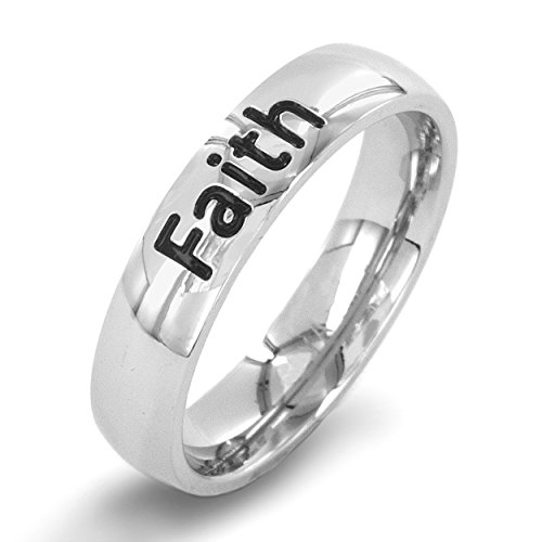 West Coast Jewelry | ELYA 'Faith' Engraved Stainless Steel Band Ring - Size 9