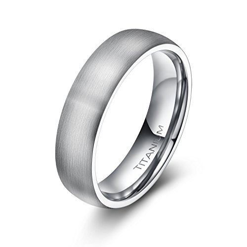 Plain Dome Mens Wedding Band - 6mm Unisex Tungsten / Titanium Ring Brushed Dome Wedding Bands Comfort Fit Size 4-15 (Titanium, 8)