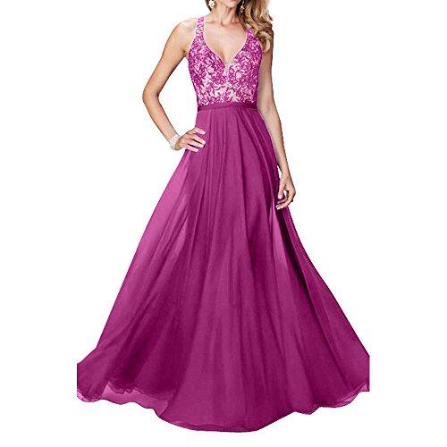 traeger ausschnitt Damen Chiffon Charmant Neu Partykleider linie Pink Ballkleider Bodenlang Zwei Sexy Abendkleider V A qBnHUX