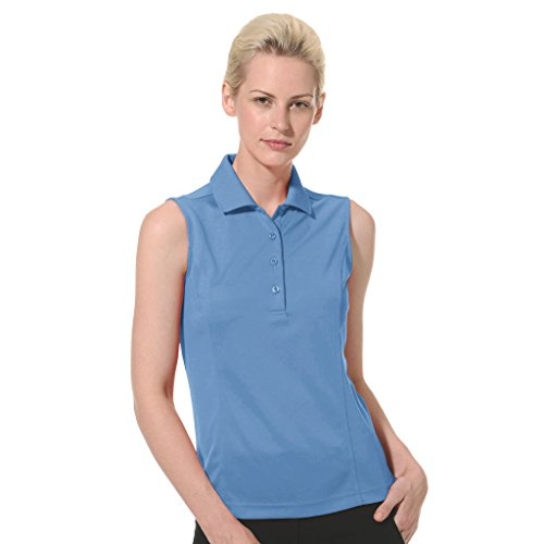 Monterey Club Ladies Dry Swing Solid Lightweight Pique Sleeveless Polo #2064 (Ocean Blue, 2X-Large)