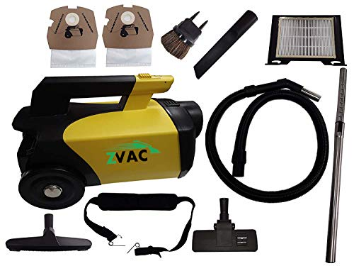 ZVac Canister Vacuum Cleaner w/Attachments Lightweight Bagged Commercial Professional Grade for Carpet, Bare Floor, Pets, Car Model ZCV-1 w/Wand, Crevice Tool, Hair Brush, Hose, Floor Tool & More