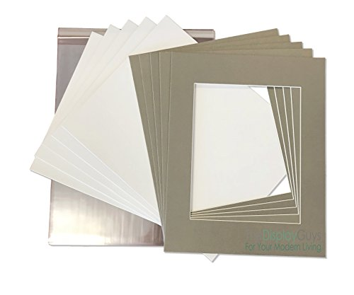 THE DISPLAY GUYS 11x14 Pack of 25 Textured Gray Picture Photo Matting Mat Boards + Backing Boards + Clear Plastic Bags Complete Set