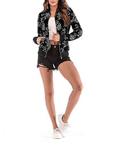Stampa Corto Blouse Baseball Coat Bomber Lunga Nero3 E Manica Moda Autunno Donna Giacche Tops Fox Outerwear Giacca Casual Fräulein Primavera Jacket Sqn77Z