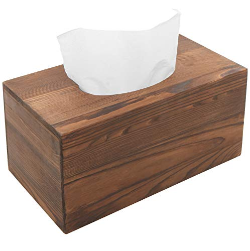 MyGift Country Rustic Brown Torched Wood Bathroom Facial Tissue Box Holder Cover/Napkin ()