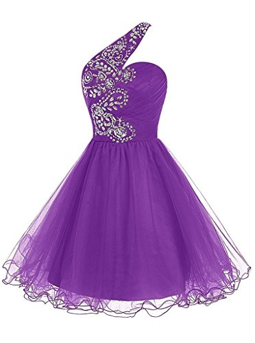 Prom LoveJuly Short Cocktail Women's Shoulder Homecoming One Dress Beadings Purple Tulle rYqTwxYp