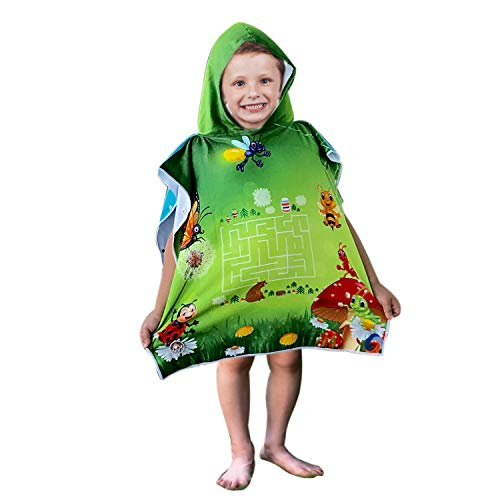 Hooded Bath Beach Towel Set- Bees Super Soft for Baby,Boys,Girls,Toddlers. Comes with a Story Book, Great for Pool Swimming Coverup, Ponchos, Robes or Capes, 1-7 Years kid