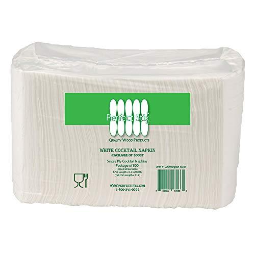 Perfect Stix White Napkins -500ct Beverage Napkins, Paper White, 1-Ply (Pack of 500)