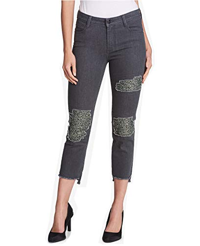 DKNY Womens Cropped Mid-Rise Skinny Jeans Gray 25