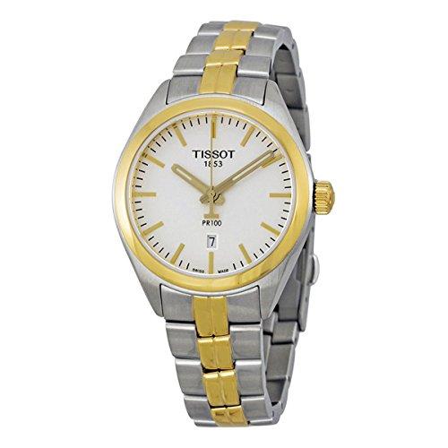 Tissot PR 100 Silver Dial Two-Tone SS Quartz Ladies Watch T1012102203100