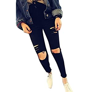 J-DEAL High Waist Woman Knee Skinny Pencil Pants Denim Ripped Boyfriend Jeans