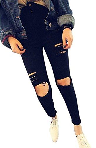 Black Denim Skinny Jeans (J-Deal® High Waist Woman Knee Skinny Pencil Pants Denim Ripped Jeans (Black,)