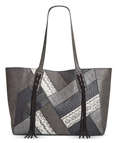 INC Womens Liaa Patchwork Leather Trim Tote Handbag Black Large