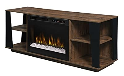 Dimplex Electric Fireplace, TV Stand, Media Console and Entertainment Center with Glass Ember Bed, Storage Cabinets and Adjustable Shelving in Walnut Finish - Arlo #