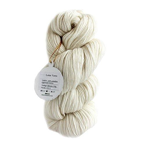(Lotus Yarns Superwash Merino 1ply 100g/skein 100% Superwash Extrafine Merino Undyed Handknitting Yarn (1))