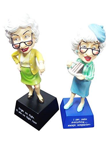 2 Pack Old Ladies Best Funny Prank Novelty Gag Gift Senior Citizen Bobble Head Figurine Silly Unique Mother Day Nurse Graduation Gift Idea Accountant Granny Grandma Girlfriend Her Grandparent (Sexy Scottish Ladies)