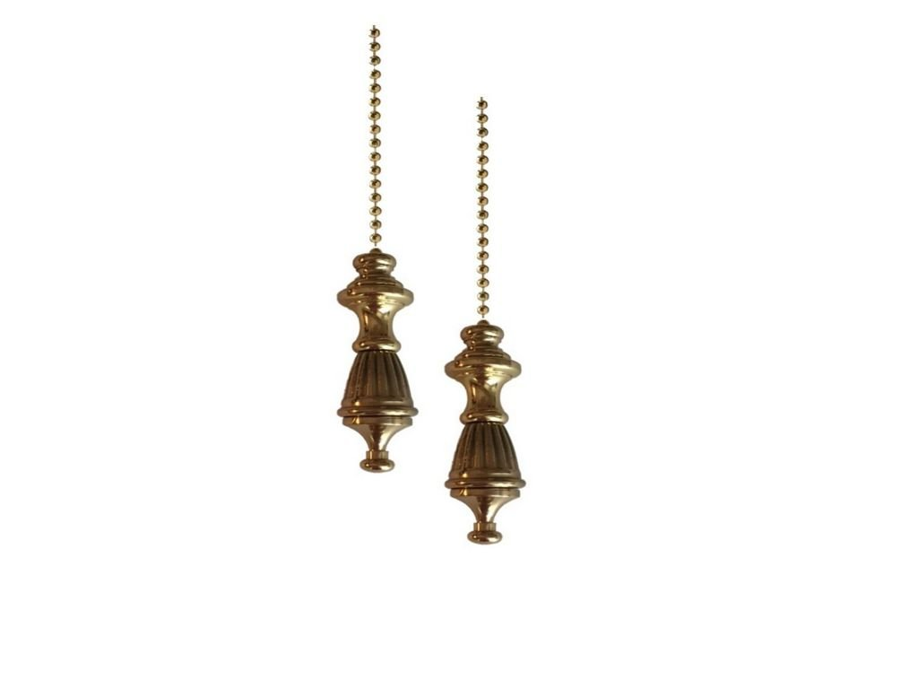 Upgradelights Pair of Solid Brass Decorative Colonial Fan Pulls with Beaded Chain