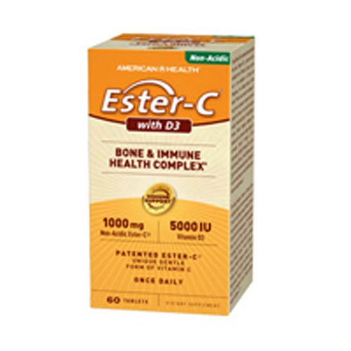 4 Pack of American Health Ester-C with D3 Bone and Immune Health Complex - 60 Tablets - Gluten Free - -