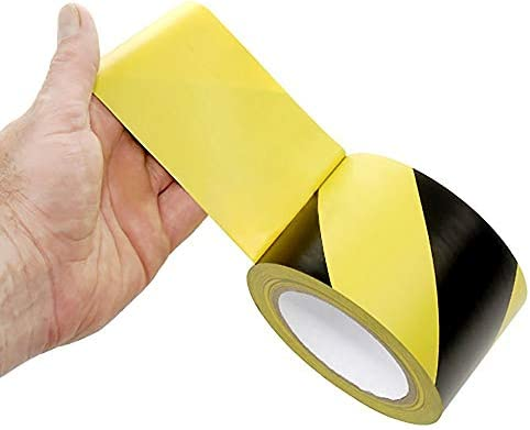 Floor Marking Warning Safety Tape 2 inch x 100 feet Pipes And Equipment Black and Yellow Ideal For Walls Floors