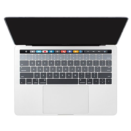 Dongke Ultra Thin Gradient Color Silicone Keyboard Protector Cover Skin for New Version MacBook Pro 13 (A1706) & MacBook Pro 15 (A1707) with Muti-Touch Bar (2017 & 2016 Release) (Gradient Grey)