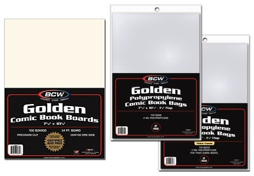 Golden Age Comic Book Backer Boards and Bags 100 Count