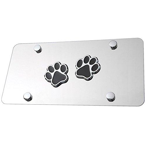 LFPartS Bear Dog Animal Paw Foot 3D Emblem Stainless Steel License Plate (Bear Dog Animal Paw Foot Black on Chrome)