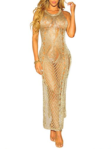 Glamaker Women's Sexy Club See Through Mesh Dress Long Hollow Out Dress with High Split (Chain Dress)